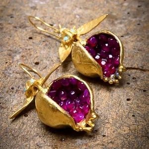 Jeweled Pomegranate Gold Dangle Unique Earrings
